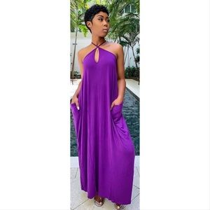 💜 Pocketed Harem Maxi Dress in Plum Purple 💜